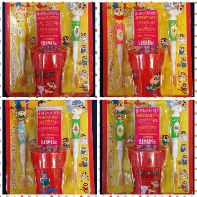 韓國MashiMaro 蠟筆小新筆套兒童抗菌牙杯組牙刷雙刷頭立體 雙層超細抗菌刷毛公仔可拆