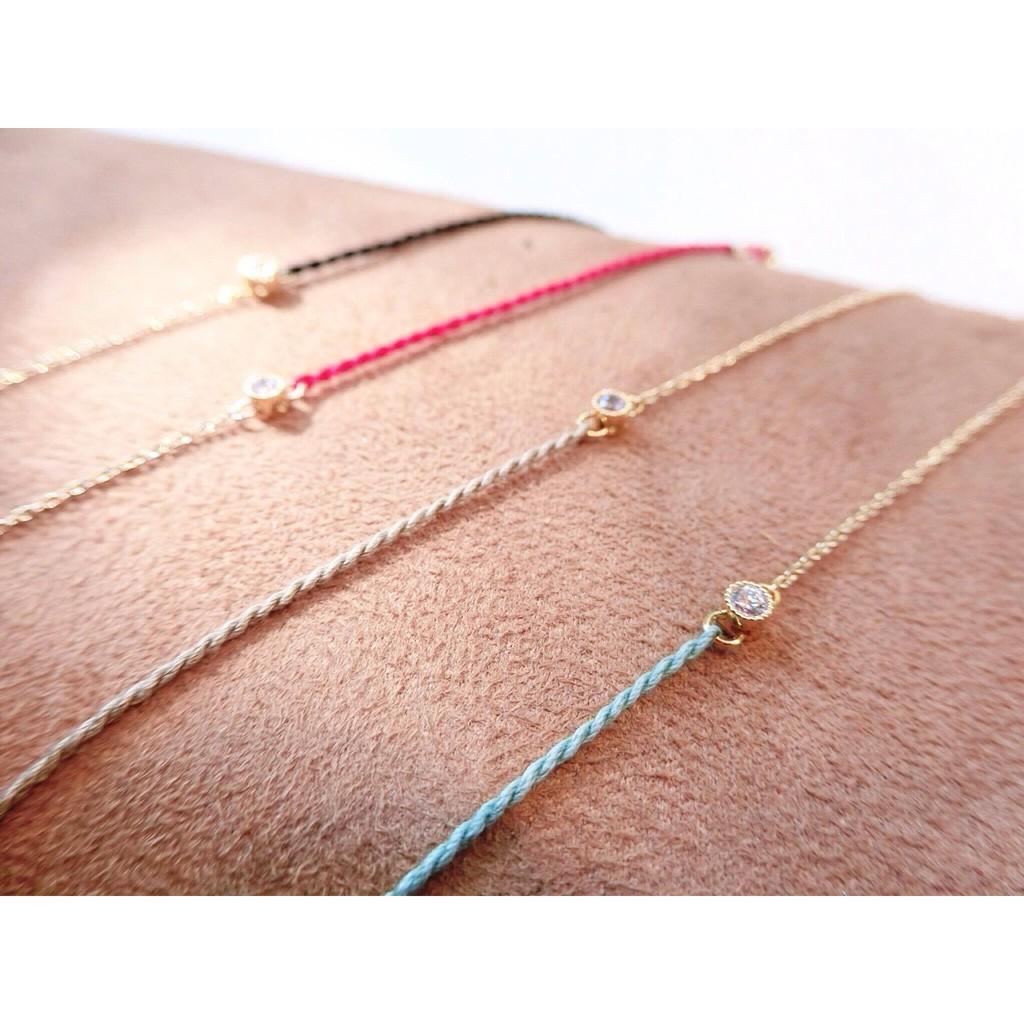 簡約風編繩單鑽拼接金鍊手鍊手環百搭多層次極簡編織 清新棉繩螺旋手作細繩索