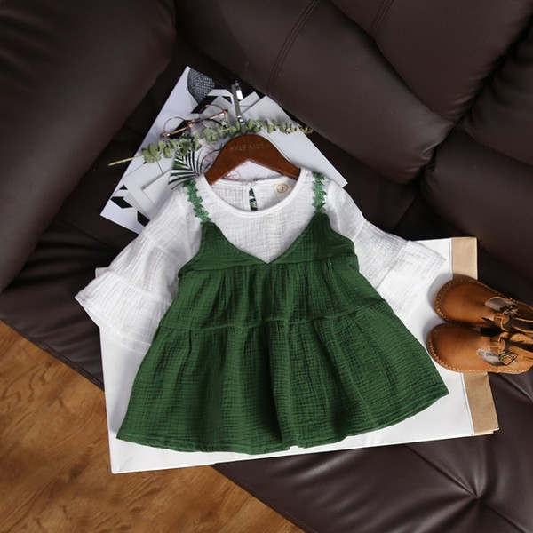 ~耐心等候~韓國 2017  女童棉麻T 恤拼接吊帶裙假兩件娃娃裙連衣裙