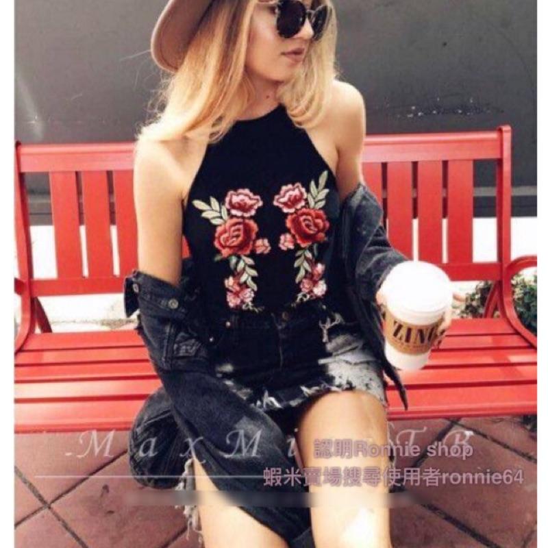 4 月Ronnie shop 實品拍攝細肩帶玫瑰花朵刺繡彈力小可愛背心嬉皮風