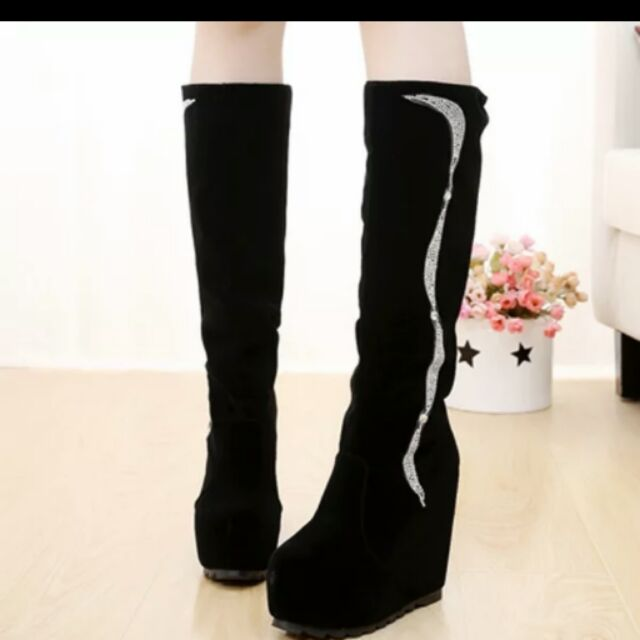 內增高坡跟過膝靴女長靴子高筒彈力厚底鬆糕廋腿超高跟騎士靴