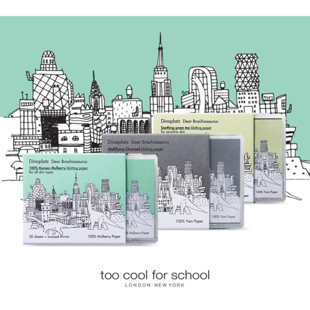 too cool for school 恐龍按壓式吸油面紙灰色綠色50 張入含粉撲盒內附小