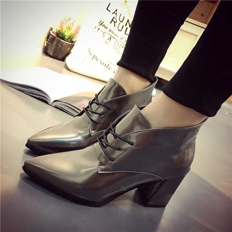 ~愛衣小鋪~2016 秋 短靴女春秋單靴馬丁靴女高跟鞋粗跟尖頭英倫裸靴子