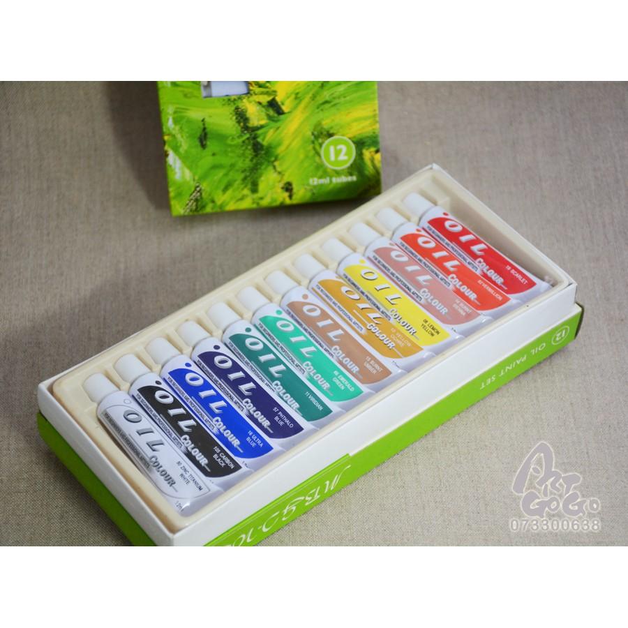 美邦MBGI WAP 油畫顏料12ml 綠盒套裝12 色0290DMEO1212C