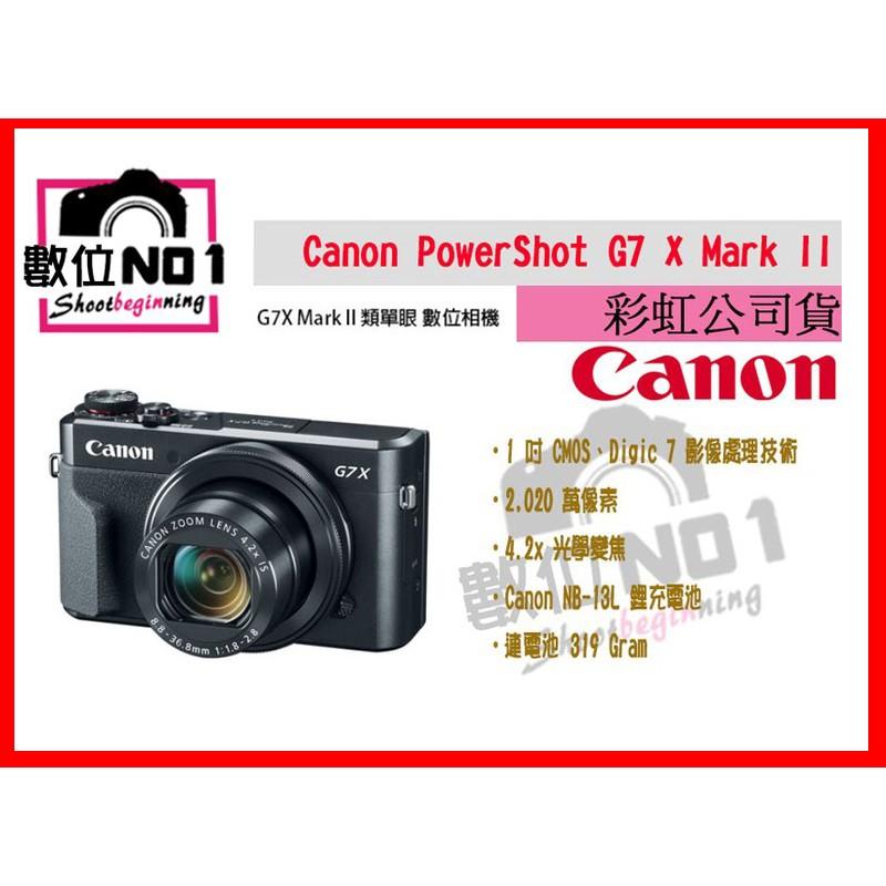 NO1 Canon Powershot G7X M2 1 吋感光翻轉台中取大光圈類單眼G7