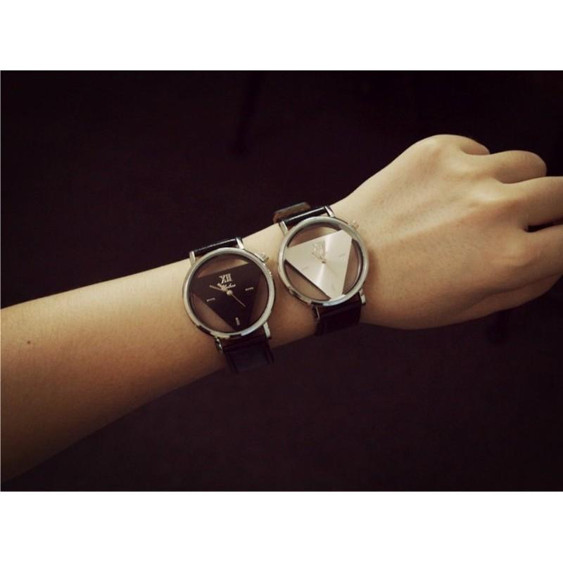 簡約潮牌復古原宿三角形手錶 雙面鏤空韓國潮流學生情侶表小錶面男女皆可戴