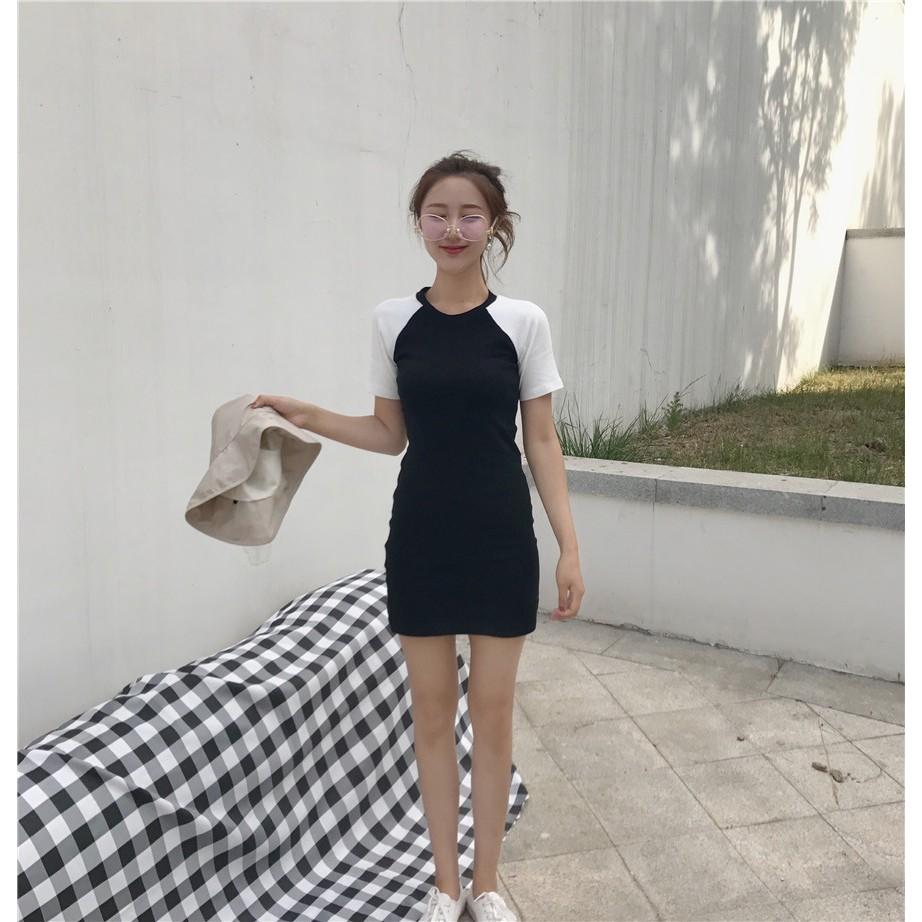 ▲實拍▼2017 韓國 休閒洋裝拼色短袖圓領連衣裙收腰修身顯瘦元氣 風少女T 恤裙黑白色包