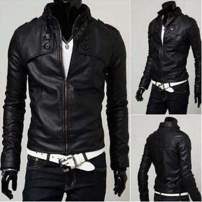 2016 年 男士皮衣 修身皮衣百搭短款皮衣立領皮夾克黑色外套