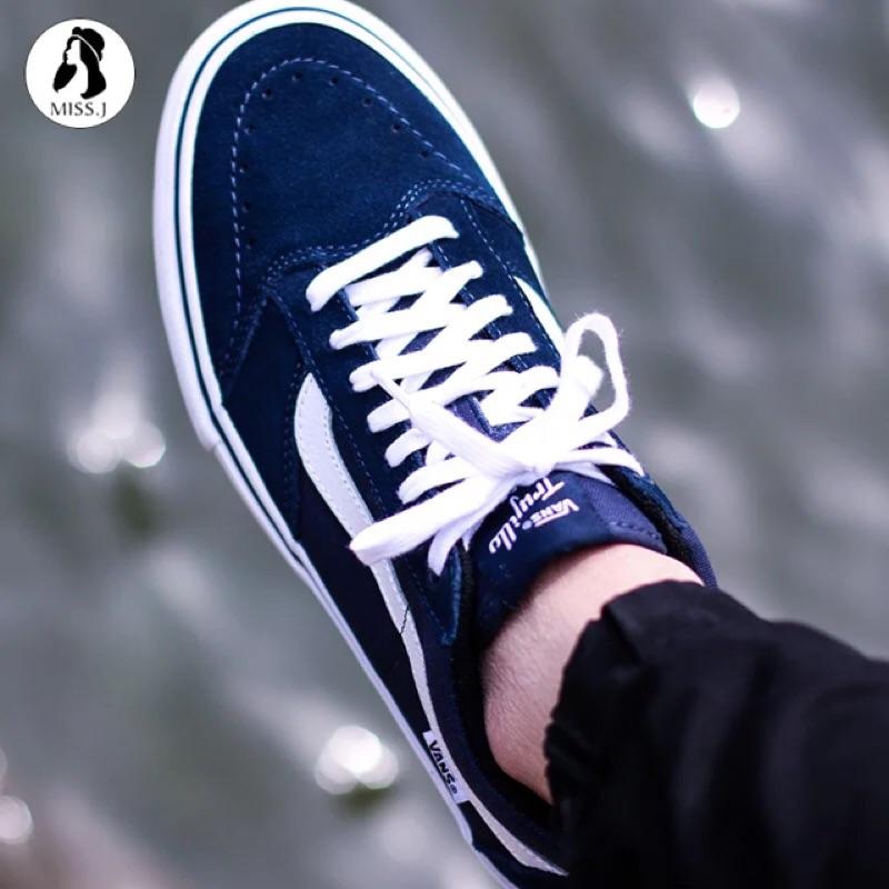 發售VANS 正品低筒男鞋TNT SG 滑板鞋帆布鞋深藍色