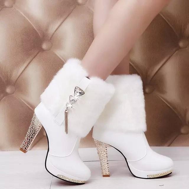 2016  靴子圓頭水鉆靴短馬丁靴毛絨高跟中筒靴女士保暖皮靴