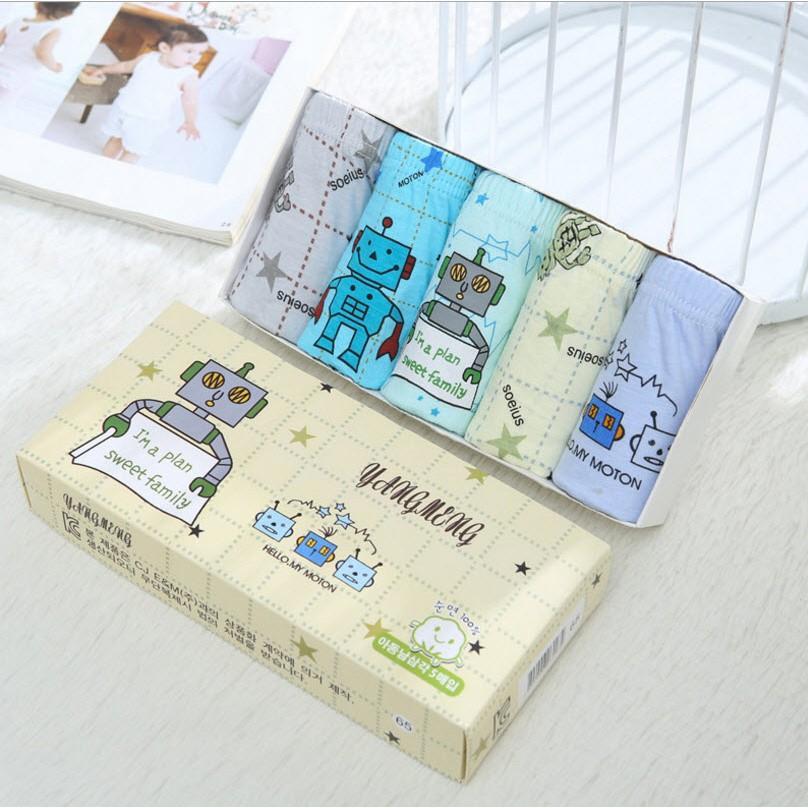 ~童話樂園~~ ~兒童純棉三角內褲機器人男童內褲五件盒裝組