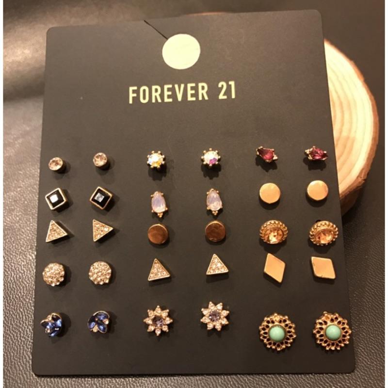 forever21 奢華閃鑽15 副耳針耳環組