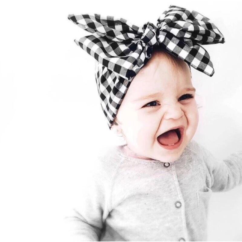 ! 訂製 黑白格子立體 超大蝴蝶結女童嬰幼兒超美棉質髮帶✨