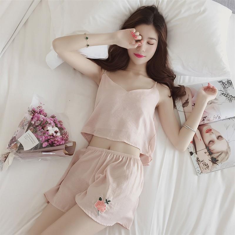 美爆了正韓睡衣套裝少女風吊帶背心休閒短褲兩件式套裝純色輕薄舒適性感素色休閒家居服