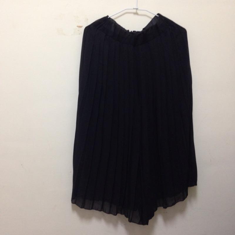 黑色雪紡百褶褲裙