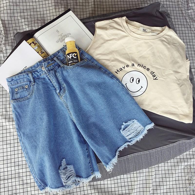 百搭男生夏裝n  男士 牛仔短褲薄款寬松直筒五分褲學院風純色 中褲