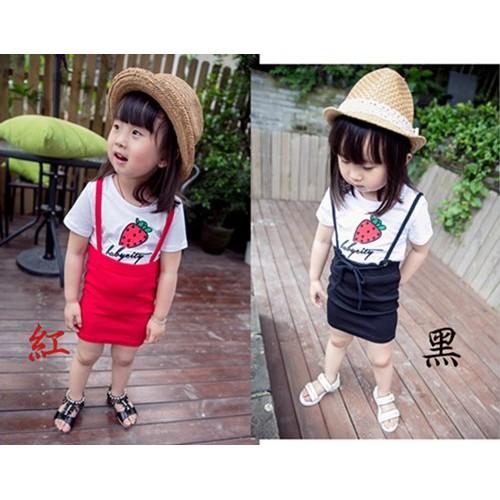 ~Z210 ~夏天涼爽系列可愛草莓印花圓領短袖上衣吊帶短裙兩件組套裝
