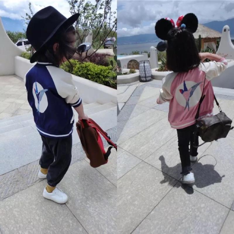 女童男童兒童小鳥刺繡緞面拼接配色長袖立領外套夾克棒球外套ins 同款