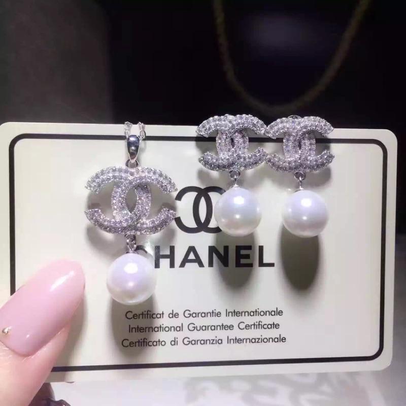 925 純銀 小香風貝殼珍珠耳環項鍊套組聖誕節情人節生日 V9559