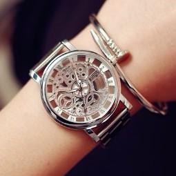韓國仿機械石英簍空金屬手錶男錶女錶對錶~SB091802 ~