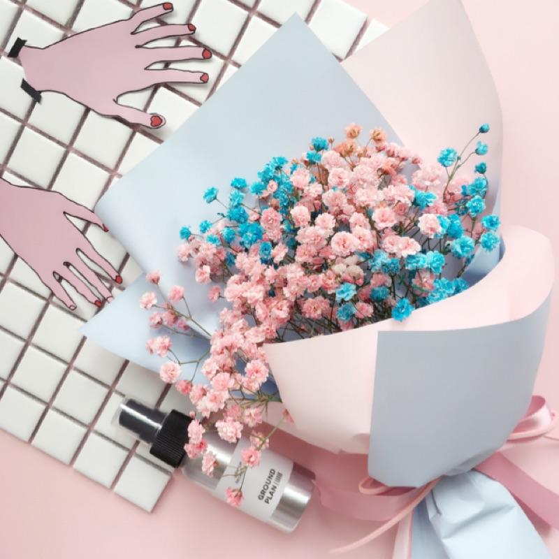 靜謐藍x 石英粉滿天星乾燥花束情人節花束告白花束閨蜜 生日 拍照擺拍婚禮小物二進