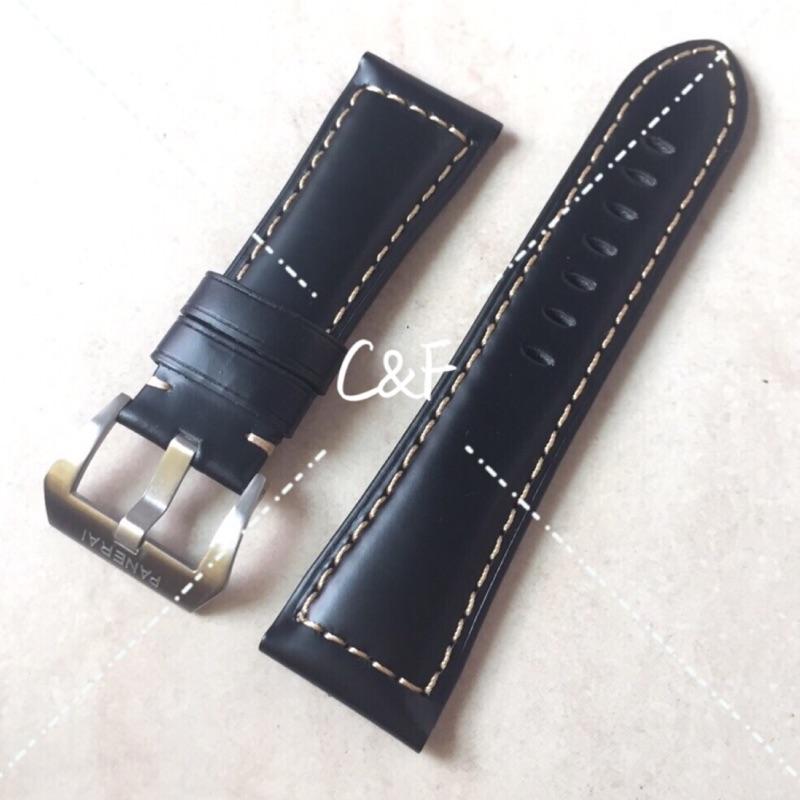 沛納海義大利牛皮黑色錶帶24mm 26mm