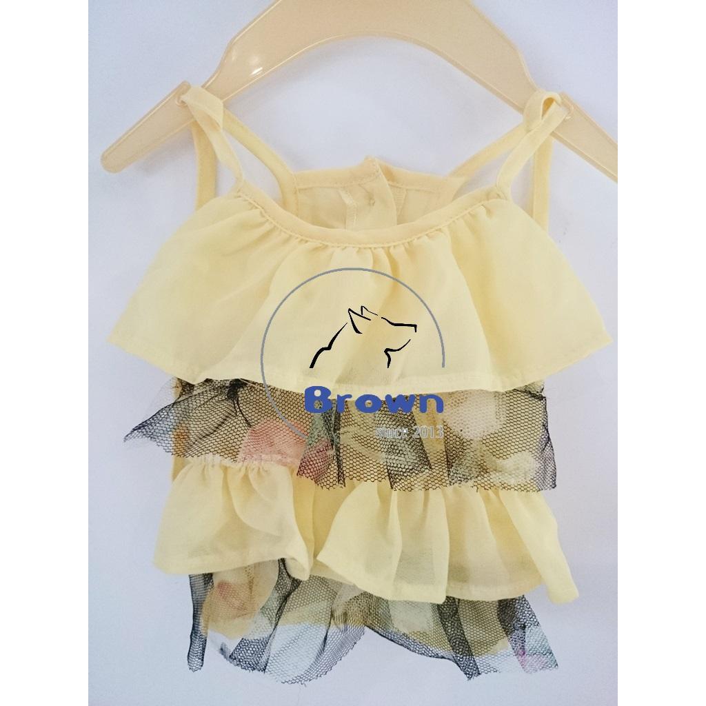 雪紡吊帶蛋糕裙 黃