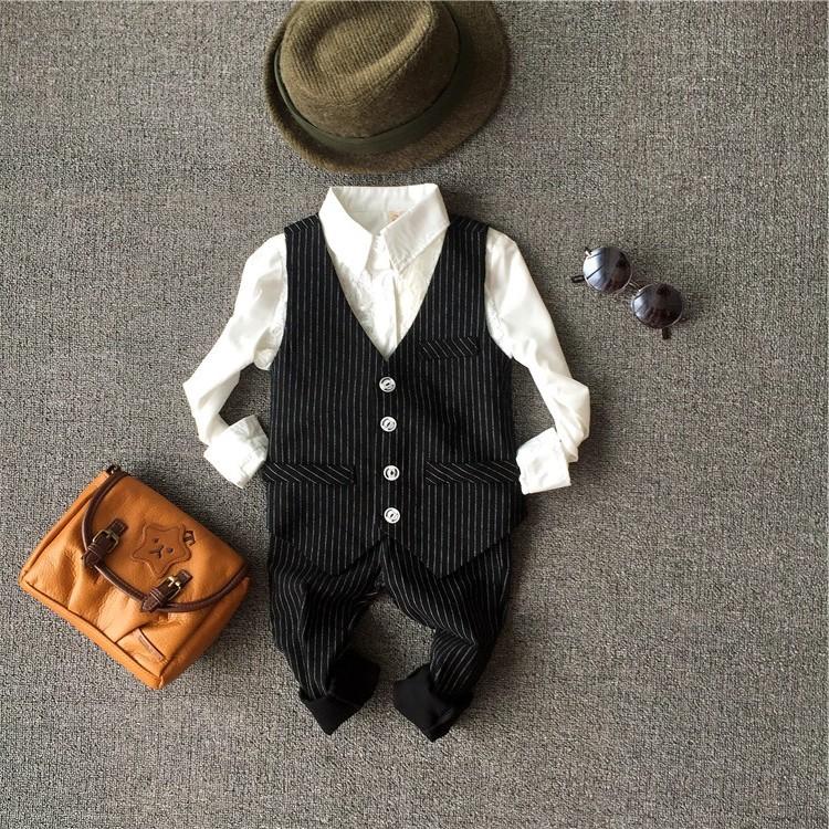 男童春秋裝小西裝套裝 兒童花童禮服男寶寶周歲西服馬甲兩件套