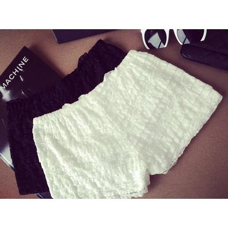 蕾絲安全褲顯瘦褶皺熱褲彈力安全褲防走光三分褲