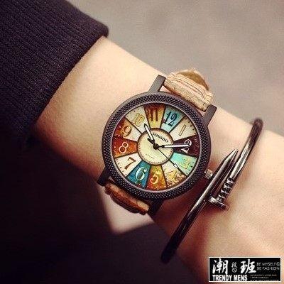 韓國 木紋錶帶抽象羅盤 手錶男錶女錶對錶~SB050606 ~