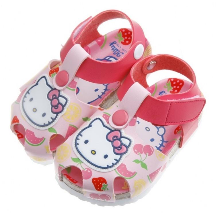 琳琳媽咪♡正品 ♡HelloKitty 凱蒂貓水果系列粉色歐風兒童氣墊涼鞋