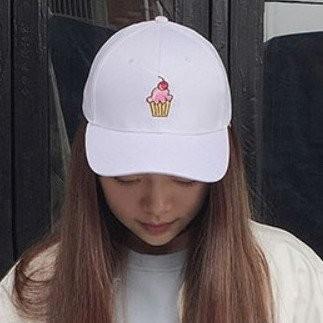 韓國 水果櫻桃杯子蛋糕刺繡 棉質舒適棒球帽彎帽老帽鴨舌帽子K667