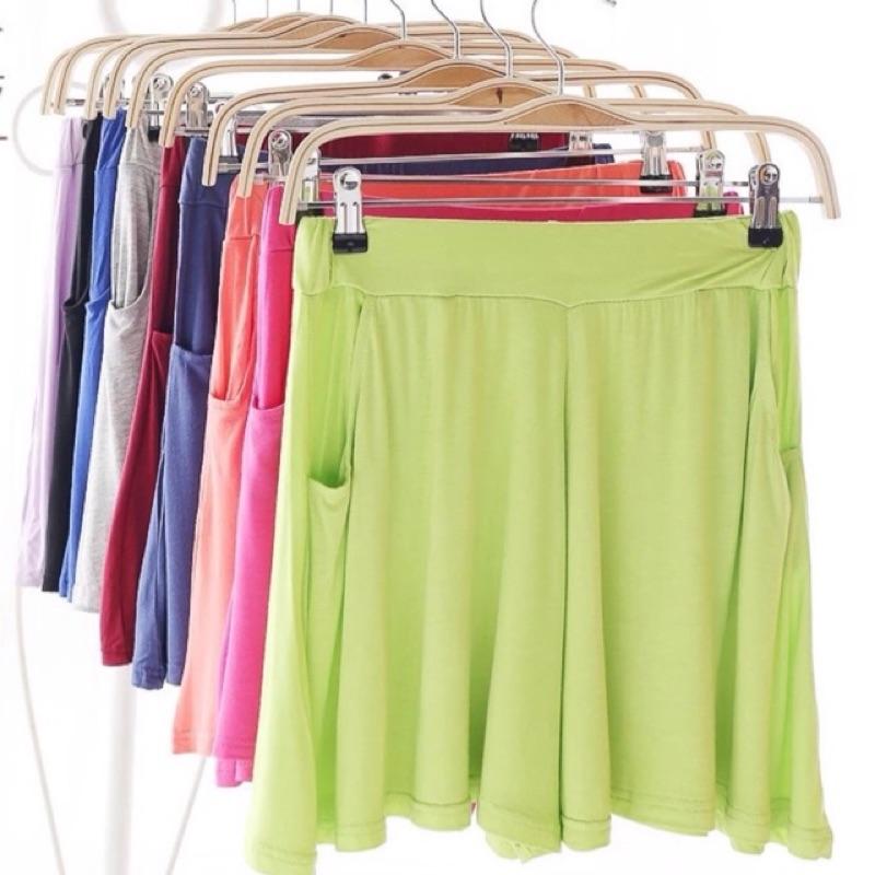莫代爾棉裙褲彩色冰淇淋馬卡龍彈力鬆緊帶腰寬鬆褲裙均碼中大 可穿1577