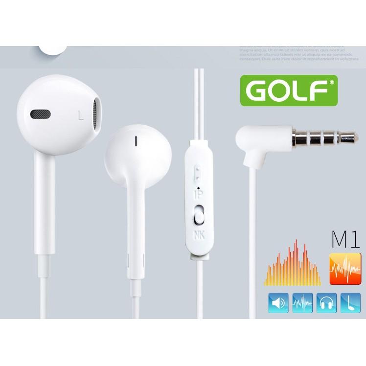 耳機可上下選曲帶麥GOLF 高爾夫M1 蘋果安卓 立體耳塞入耳式線控耳機普通耳機 耳機遊戲