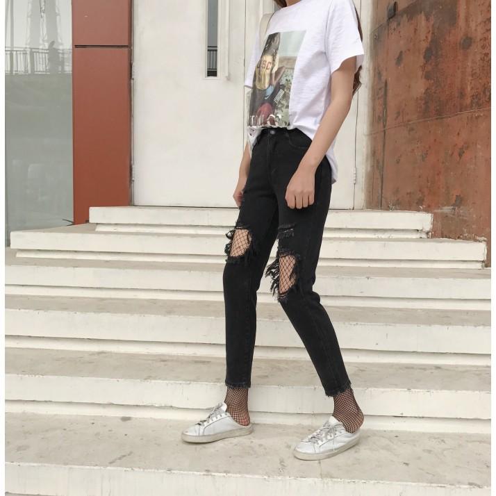新品黑色鏤空破洞牛仔長褲打底褲女九分小腳褲 寬鬆乞丐韓國bf 直筒褲子
