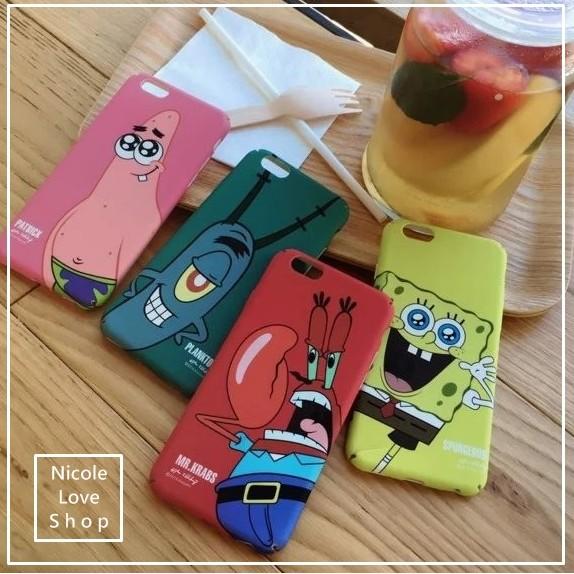 卡通版俏皮可愛海綿寶寶派大星蟹老闆皮老闆iPhone 6 s plus i6 手機殼硬殼