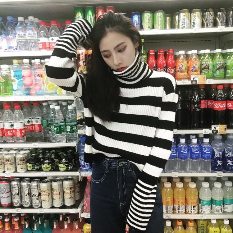高領氣質黑白撞色拼接顯瘦條紋寬鬆休閒舒適百搭針織毛線套頭毛衣上衣