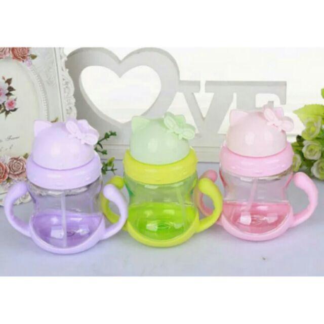 (送瓶刷)寶寶學習水杯帶吸管帶手柄貓咪寬口水壺訓練喝水杯吸管杯水壺