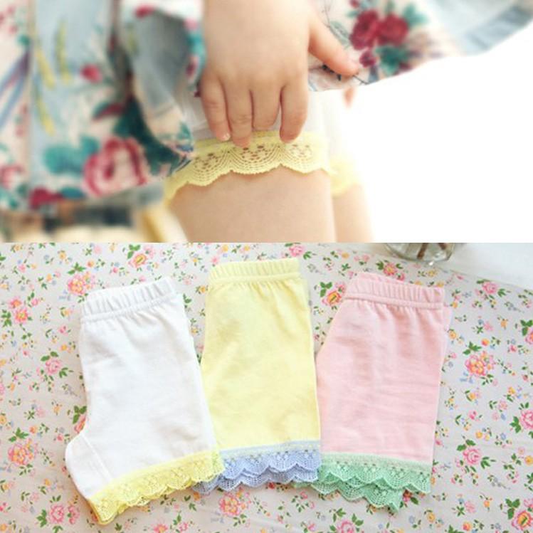 A9078 夏裝女童打底褲子 純色蕾絲短褲兒童安全褲米白色、黃色、粉色、紫色、綠色