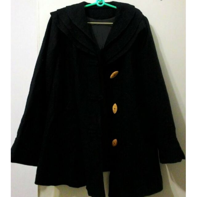 毛料 黑大衣斗篷花朵花邊皺折打折領口保暖寬鬆質料超好換物