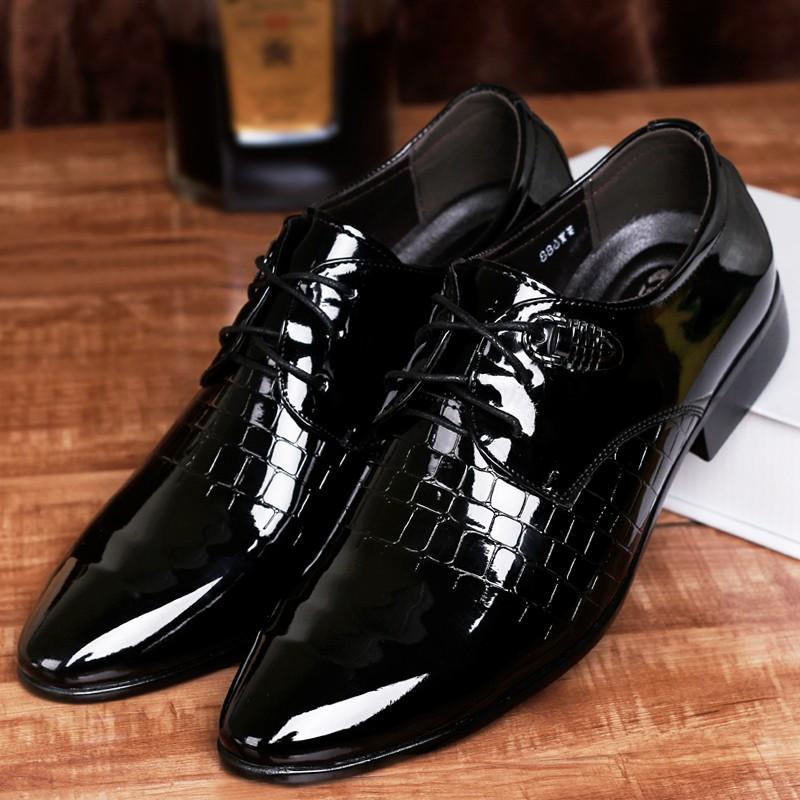 皮鞋男英倫尖頭繫帶 青年男鞋 男士商務正裝鞋子