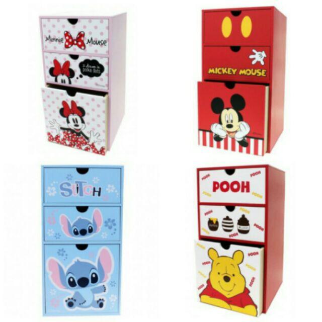 kitty 奇奇蒂蒂直式三抽收納櫃米奇米妮維妮史迪奇 木製直式抽屜收納盒