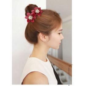 七彩格子頭飾布藝發夾彈簧夾頂夾發卡韓國蝴蝶結發飾飾品A0204