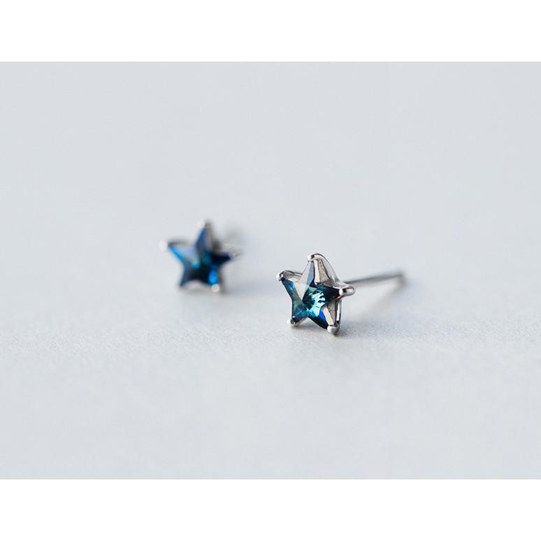 皇后銀飾晶亮藍鑽五芒星耳環優雅鑲鑽星星耳針不過敏925 純銀E126