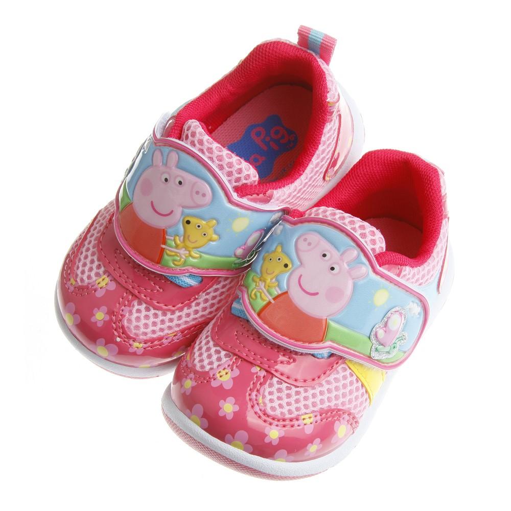 童鞋粉紅豬小妹佩佩豬花朵桃色休閒 鞋14 19 公分ACY405H