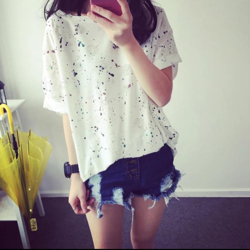 韓人2016 夏裝 彩色噴墨短袖T 恤54