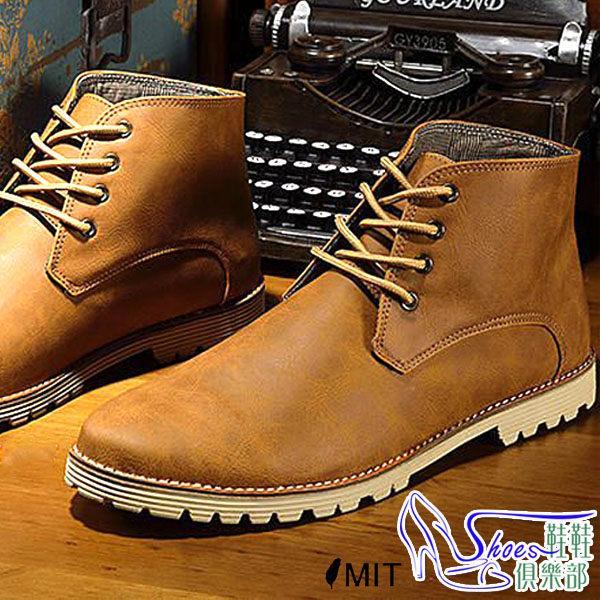 馬汀靴~鞋鞋俱樂部~~545 WK907 ~.黑咖.雷根真皮底水洗刷紋粗礦爆紋皮休閒靴