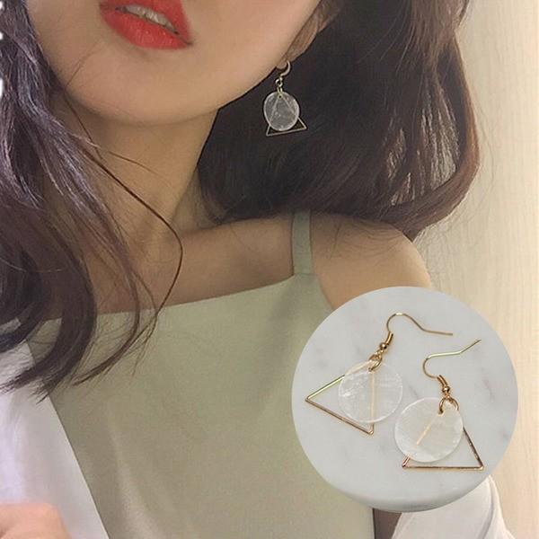 PETIT BAZAR 韓國 極簡風簡約三角形長方形圓片氣質耳環一對