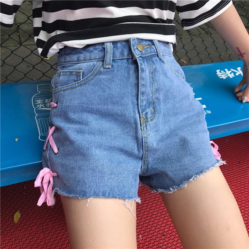 2017 軟妹綁帶牛仔短褲高腰修身顯瘦毛邊直筒褲子磨白金屬環潮流機車百搭