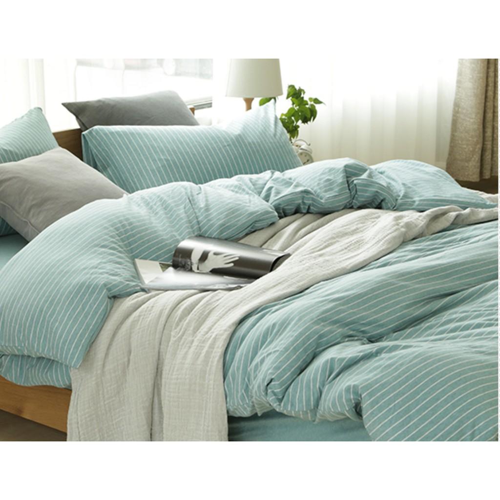 ♡Namast é♡無印風格淡藍色條紋淡藍色床包四件純棉床單被套枕頭套整組床包床罩無印良品